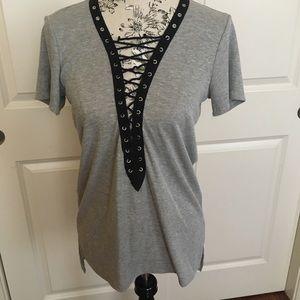 Criss Cross Lace Up Tee Ribbed Shirt